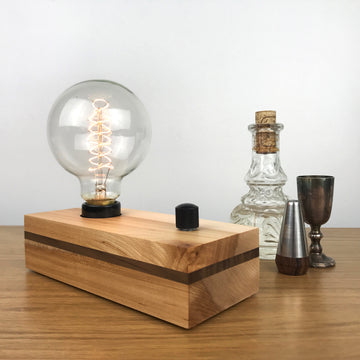 VANITY - Maple with Black Walnut Stripe and Dimmer | modern industrial dimmable wood table and desk lamp with Edison bulb