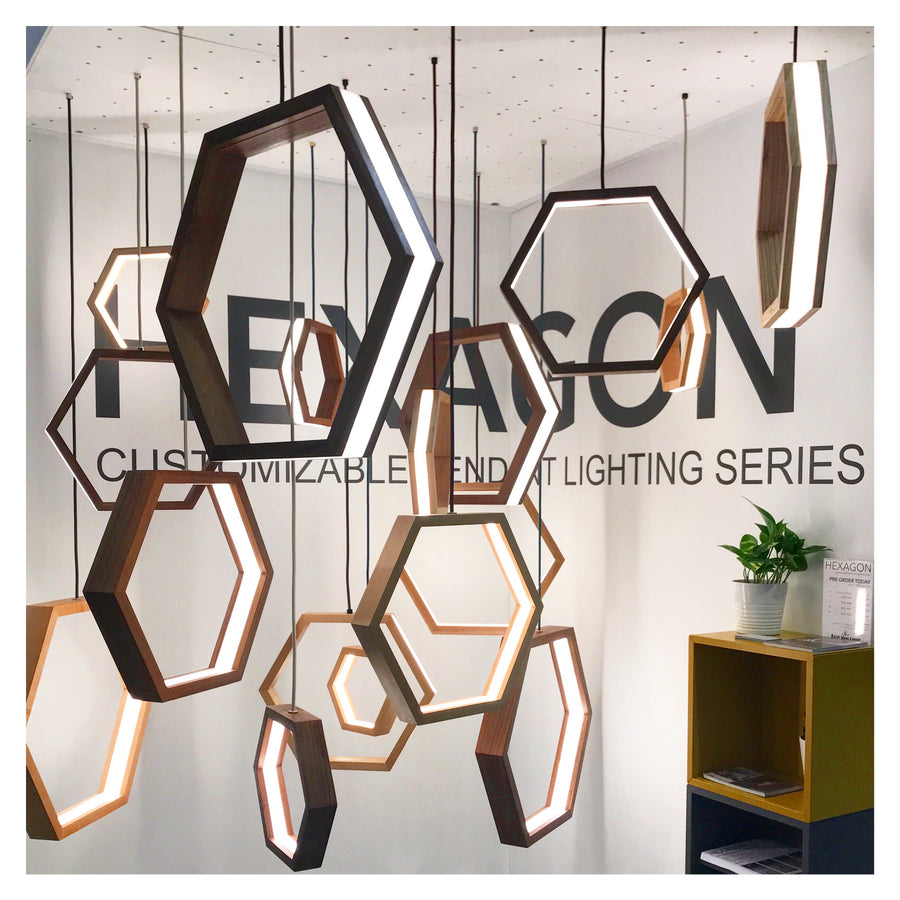HEXAGON - dimmable LED Maple wood pendant light cluster #4 - Ready to Ship!