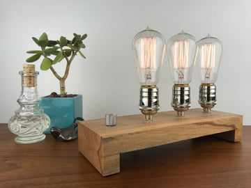 TESLA Triple - Maple and NICKLE with Dimmer #1 | modern industrial dimmable wood table and desk lamp with Edison bulb