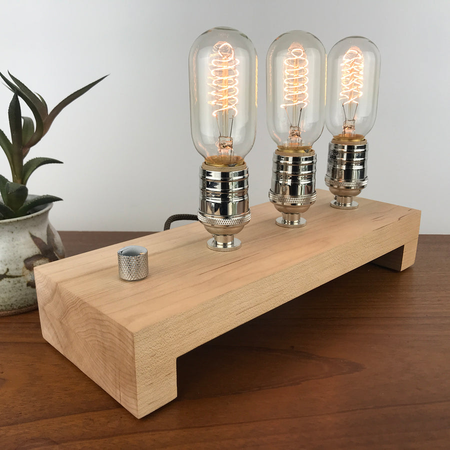 TESLA Triple - Maple 2 | modern industrial table lamp with dimmer and Edison bulbs