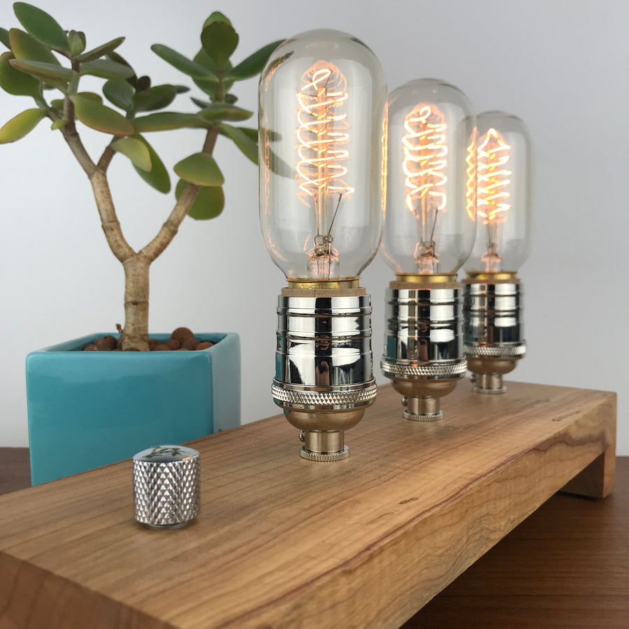 TESLA Triple - Maple 1 | modern industrial table lamp with dimmer and Edison bulbs