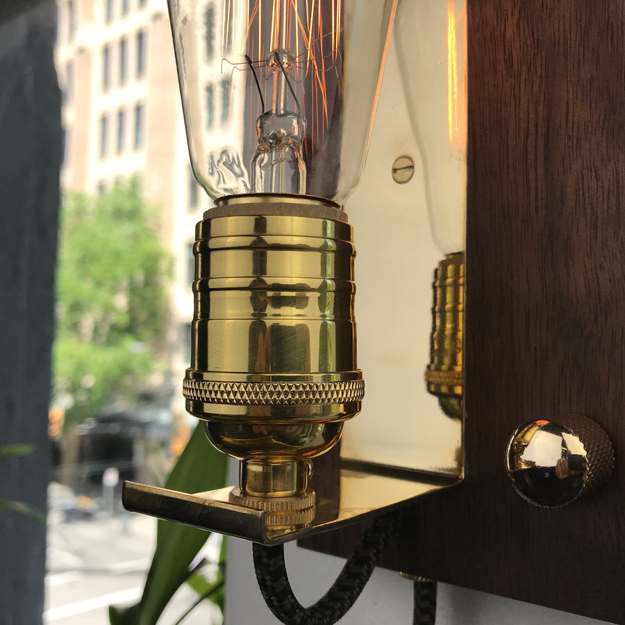 SCONCE - portable plug in wall light! | Walnut & Brass accent light with dimmer and Edison bulb