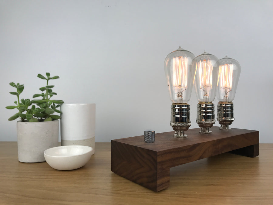TESLA Triple - Black Walnut and Nickle | modern industrial table lamp with dimmer and Edison bulbs