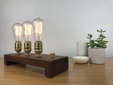 TESLA Triple - Black Walnut and BRASS with Dimmer | modern industrial dimmable wood table and desk lamp with Edison bulb