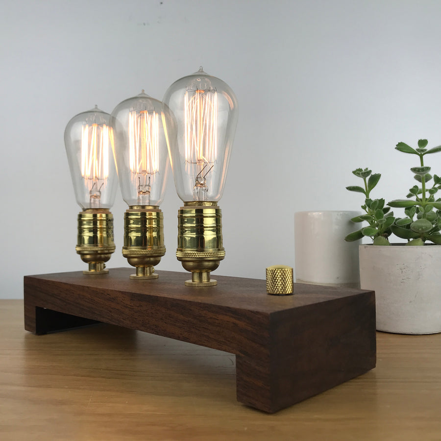 TESLA Triple - Walnut and BRASS with Dimmer | dimmable wood table & desk lamp with Edison bulbs