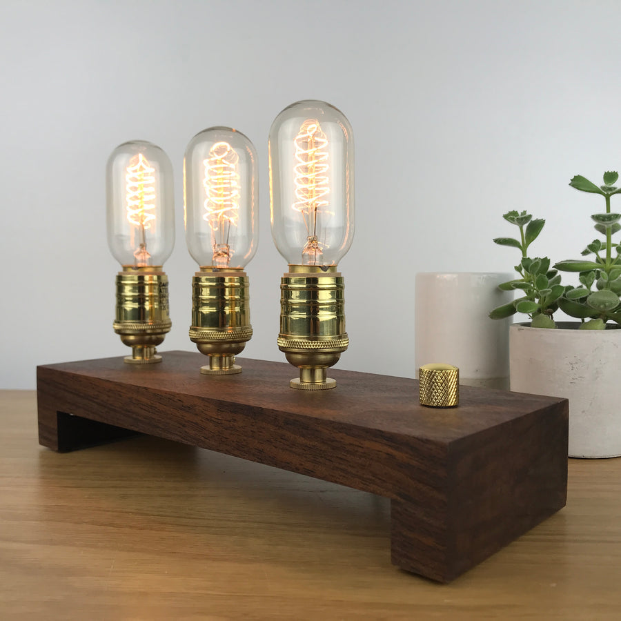 TESLA Triple - Black Walnut and Brass | modern industrial table lamp with dimmer and Edison bulbs