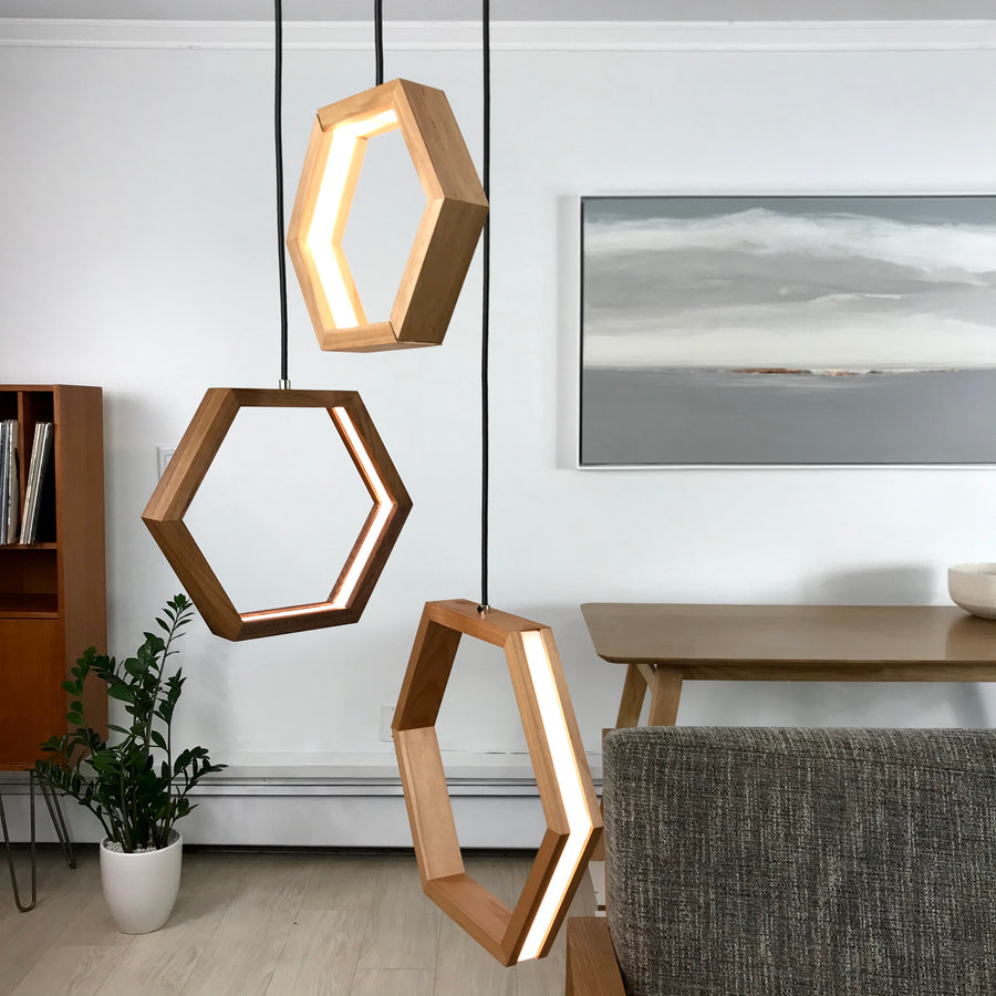 HEXAGON - dimmable LED Walnut and Maple wood pendant light cluster #1 - Ready to Ship!