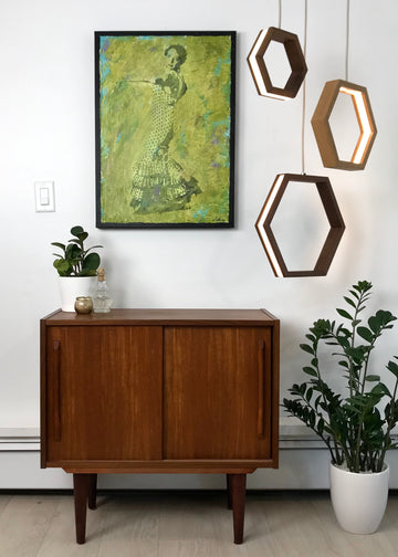 HEXAGON - dimmable LED Walnut and Maple wood pendant light cluster #2 - Ready to Ship!