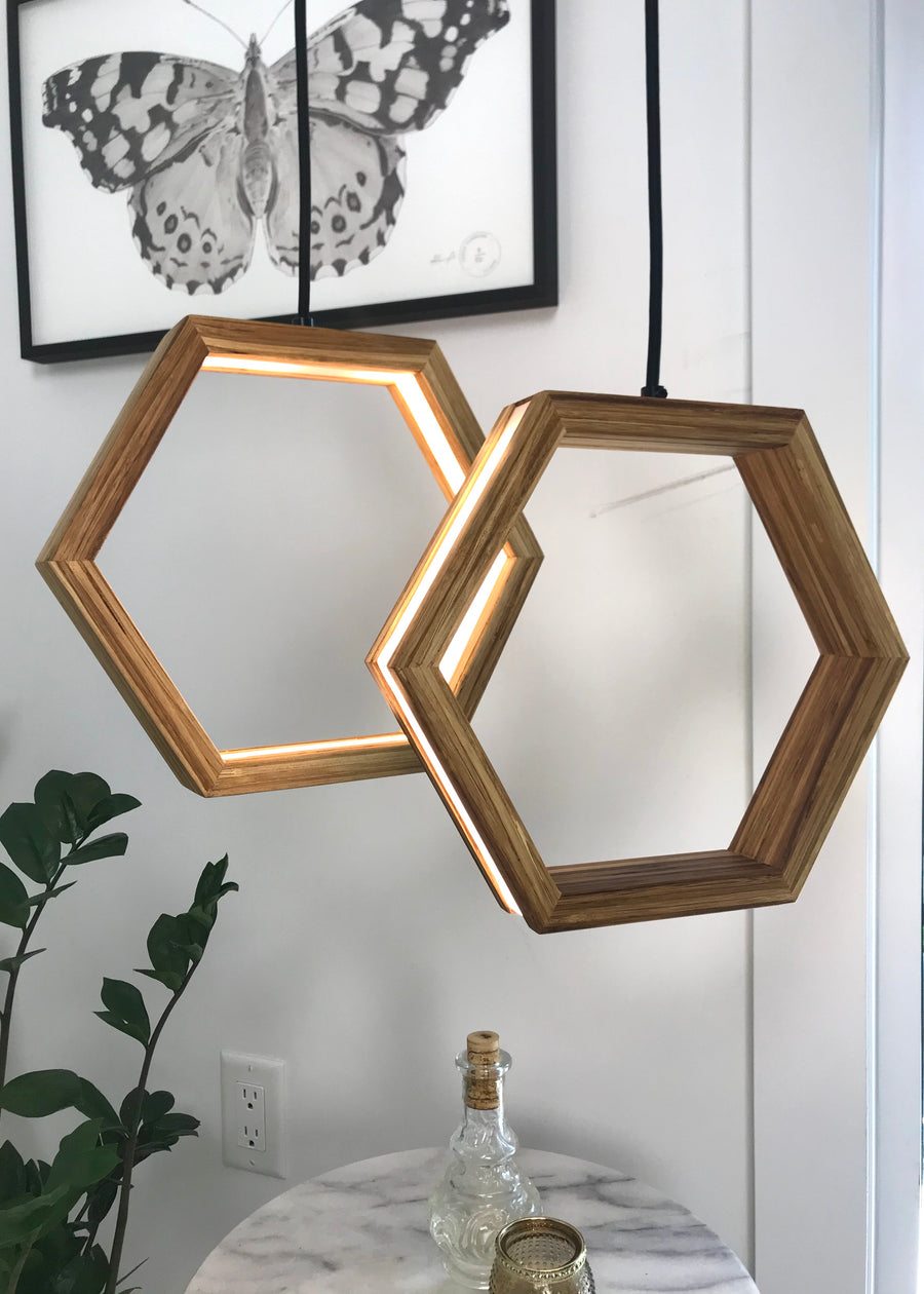 HEXAGON - dimmable LED Bamboo pendant light cluster #3 - Ready to Ship!