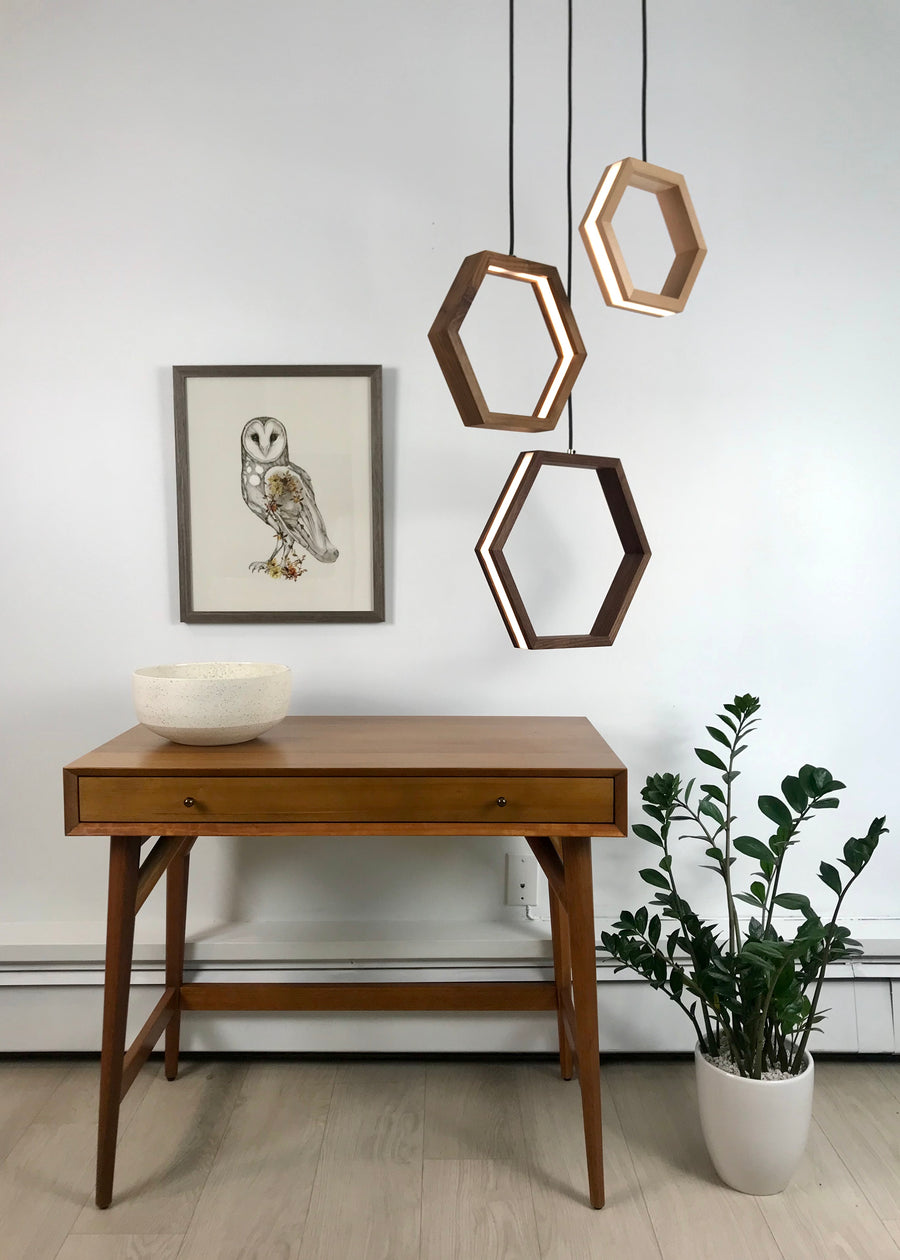 HEXAGON - dimmable LED Walnut and Maple wood pendant light cluster #5 - Ready to Ship!