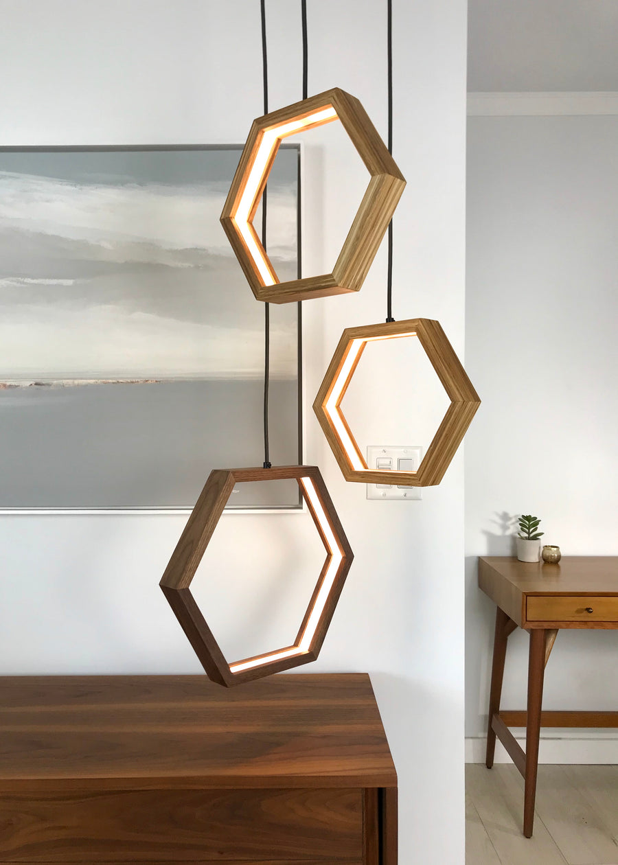HEXAGON - dimmable LED Walnut and Bamboo wood pendant light cluster #6 - Ready to Ship!