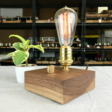 BLOCK - Black Walnut and BRASS with Dimmer | dimmable wood table and desk lamp with Edison bulb