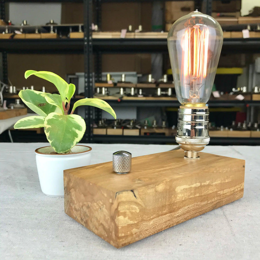 EDISON Single - Spalted Maple #3 | dimmable wood table & desk lamp with bulb