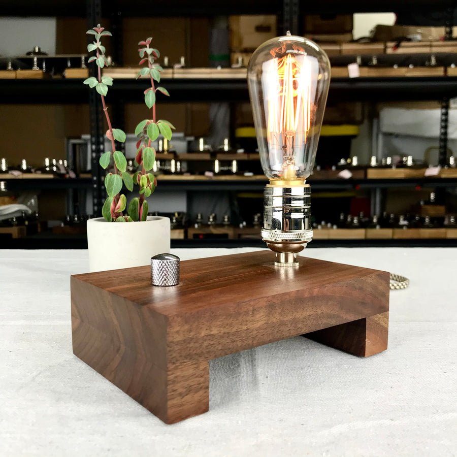 TESLA Single - Black Walnut with Nickle (LAST ONE!) | dimmable wood table lamp with bulb