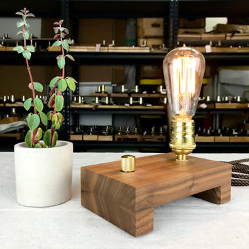 TESLA Single - Black Walnut with Brass (LAST ONE!) | dimmable wood table lamp with bulb
