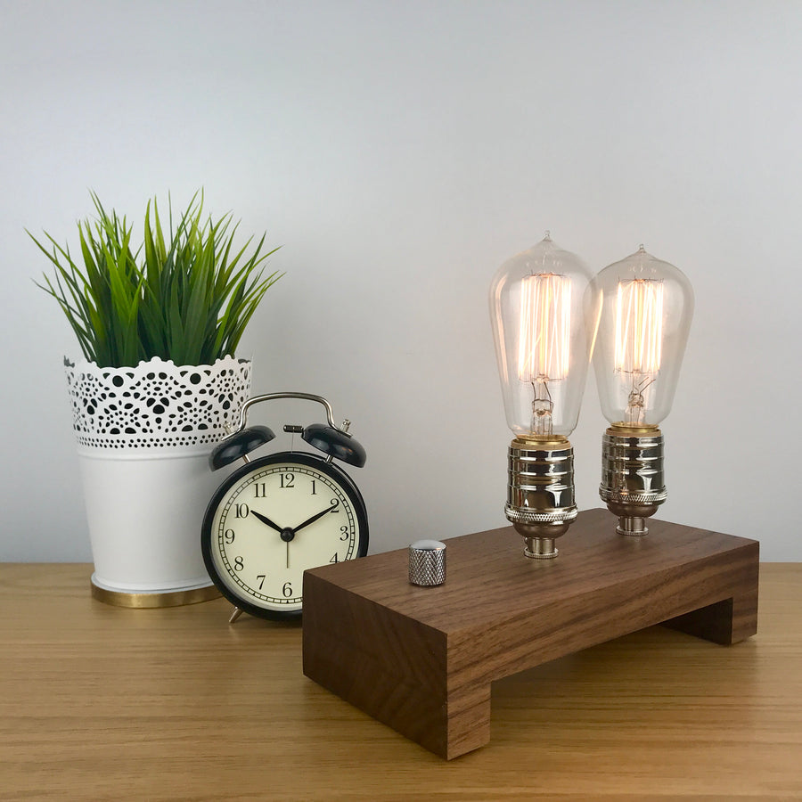 TESLA Double - Black Walnut with NICKLE and Dimmer | dimmable wood table lamp with bulbs