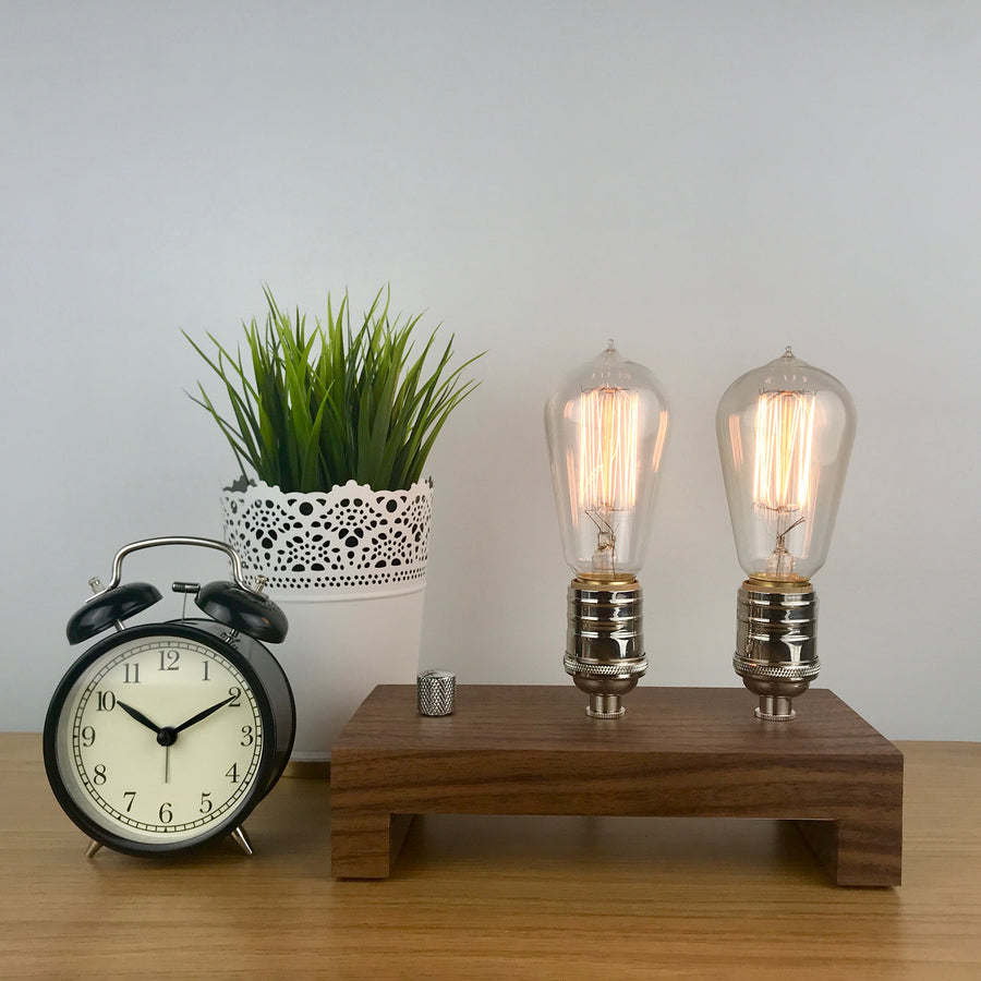 TESLA Double - Black Walnut | modern industrial table lamp with dimmer and Edison bulb