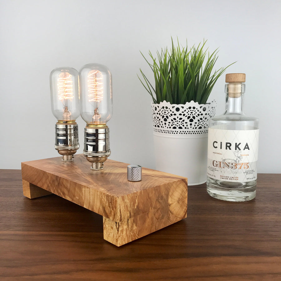 TESLA Double - Maple | modern industrial table lamp with dimmer and Edison bulb