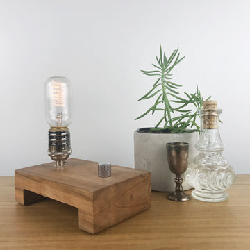 TESLA Single - Maple and NICKLE with Dimmer | modern industrial dimmable wood table and desk lamp with Edison bulb