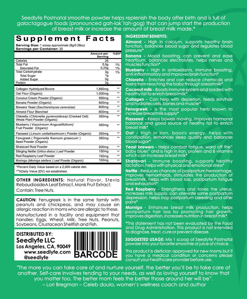 POSTNATAL SUPPLEMENT SUPERFOOD SMOOTHIE BLEND, 58g, 7 Servings