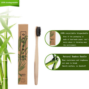 GIFTSKING 10pcs/Set Natural Pure Bamboo Toothbrush