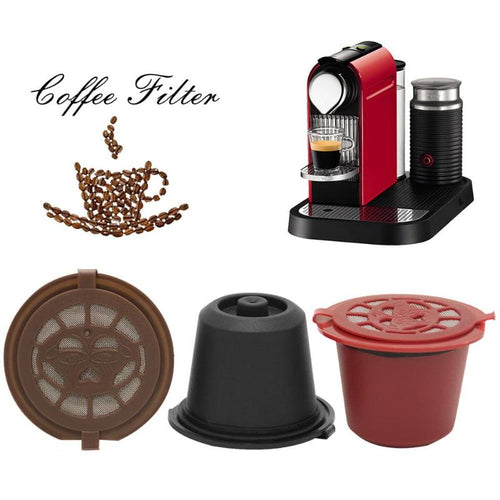 GIFTSKING 3pcs/pack Refillable Reusable for Nespresso Coffee Capsule