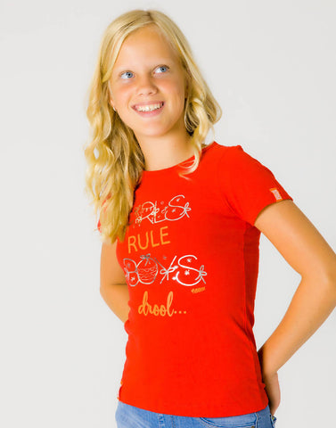 GIRLS RULE BOYS DROOL – RAGING RED, GIRLS TSHIRT - NOWNOW