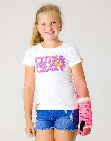 CUTE & CRAZY – WISDOM WHITE, GIRLS TSHIRT - NOWNOW