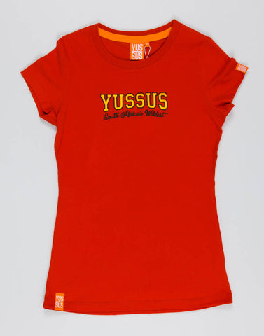 YUSSUS COLLEGE – RAGING RED, LADIES TSHIRT - NOWNOW