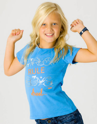 GIRLS RULE BOYS DROOL – BOOST BLUE, GIRLS TSHIRT - NOWNOW