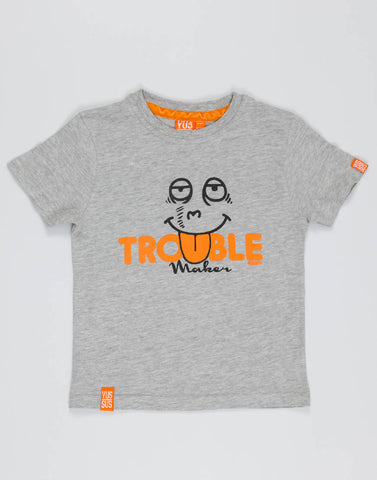 TROUBLE MAKER – GROOVY GREY, BOYS TSHIRT - NOWNOW
