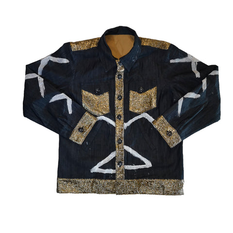 Gold White Paint Denim Jacket by Red Thread Apparel