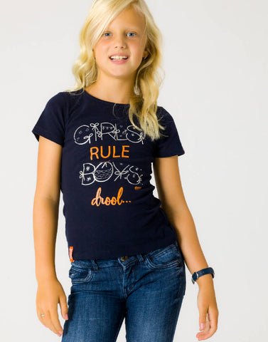 GIRLS RULE BOYS DROOL – NOCTURNAL NAVY, GIRLS TSHIRT - NOWNOW
