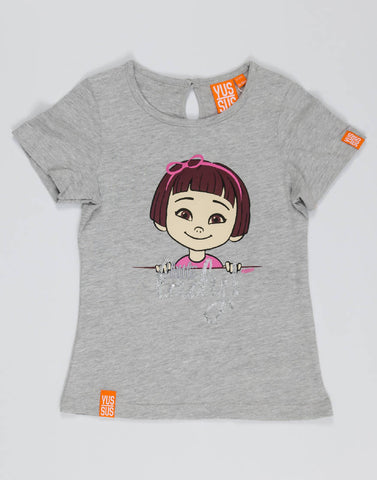LITTLE LADY – GROOVY GREY, GIRLS TSHIRT - NOWNOW