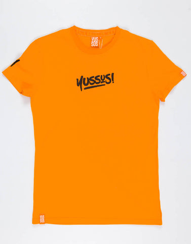 YUSSUS + Y TAGS GM – OUTRAGEOUS ORANGE, MENS TSHIRT - NOWNOW