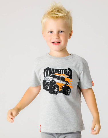 MONSTER TRUCK – GROOVY GREY, BOYS TSHIRT - NOWNOW