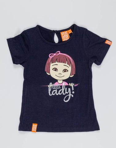 LITTLE LADY – NOCTURNAL NAVY, GIRLS TSHIRT - NOWNOW