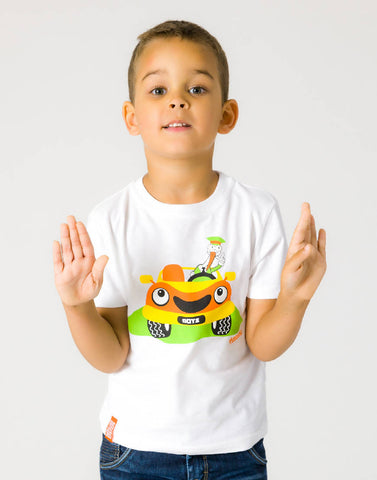 CAR – WISDOM WHITE, BOYS TSHIRT - NOWNOW
