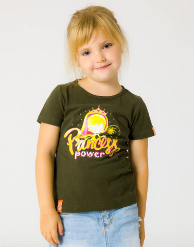 PRINCESS POWER – GROWTH GREEN, GIRLS TSHIRT - NOWNOW