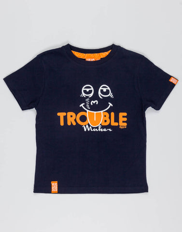 TROUBLE MAKER – NOCTURNAL NAVY, BOYS TSHIRT - NOWNOW