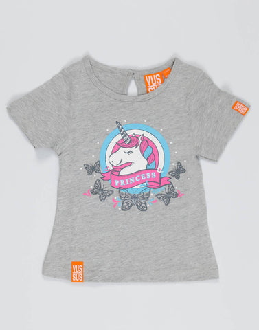UNICORN PRINCESS – GROOVY GREY, GIRLS TSHIRT - NOWNOW