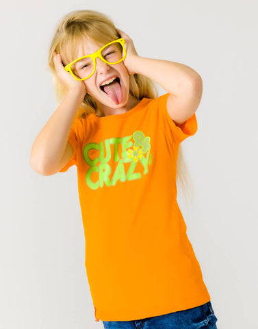 CUTE & CRAZY – OUTRAGEOUS ORANGE, GIRLS TSHIRT - NOWNOW