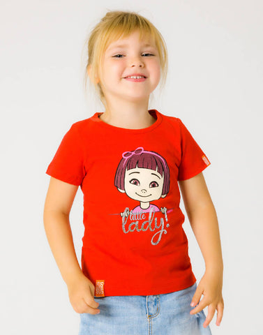 LITTLE LADY – RAGING RED, GIRLS TSHIRT - NOWNOW