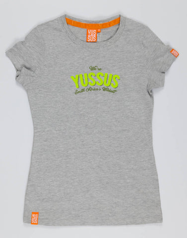 WE'RE YUSSUS – GROOVY GREY, LADIES TSHIRT - NOWNOW