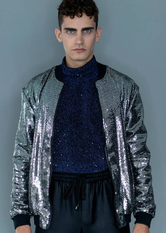 SPANGLE BOMBER JACKET - NOWNOW