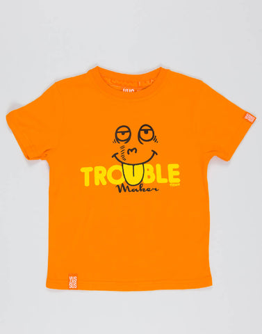 TROUBLE MAKER – OUTRAGEOUS ORANGE, BOYS TSHIRT - NOWNOW