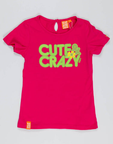 CUTE & CRAZY – PLAYFUL PINK, GIRLS TSHIRT - NOWNOW