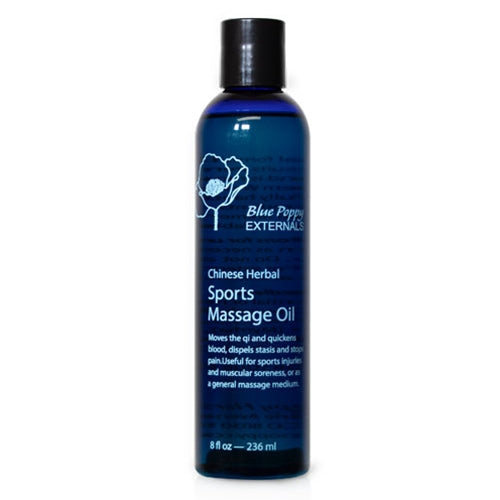 CHINESE HERBAL SPORTS MASSAGE OIL 8 OZ, BLUE POPPY