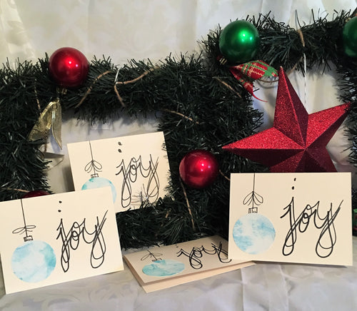 JOY Handmade Christmas Cards and Envelopes (set of 4)