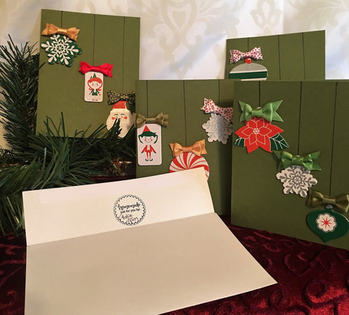 Christmas Baubles Handmade Christmas Cards & Envelopes (Set of 4)